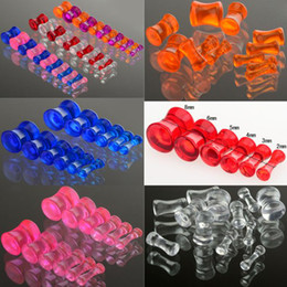 Wholesale 84pcs New Acrylic Transparent Clear Stretcher Ear Tunnels Plug Ear Expander Stretch Gauge BC113