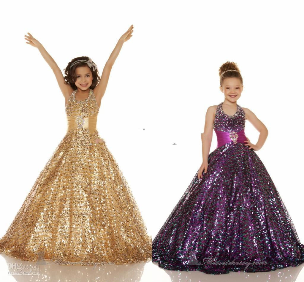 2013 Hot Sales Halter Sequins Gold Ball gown Sequins Glitz pageant dresses Girl's Party Dresses 42617S
