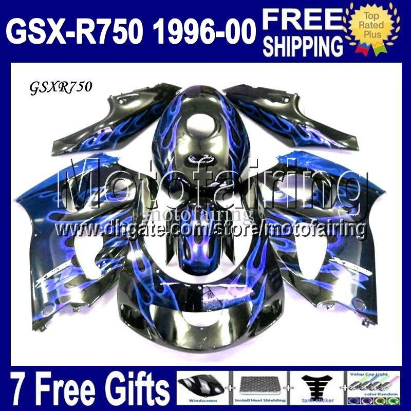 7gifts Fit SUZUKI 96-00 GSX-R750 96 97 98 99 00 MF10855 Custom GSXR 750 1996 Blue Flames 1997 1998 98 1999 2000 GSXR750 GSX R750 Fairing