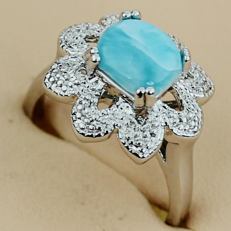 Moda Larimar Romantic jewelry Plata chapada RING R3532 sz # 6 7 8 Recommend Promotion Favorite Best Sellers