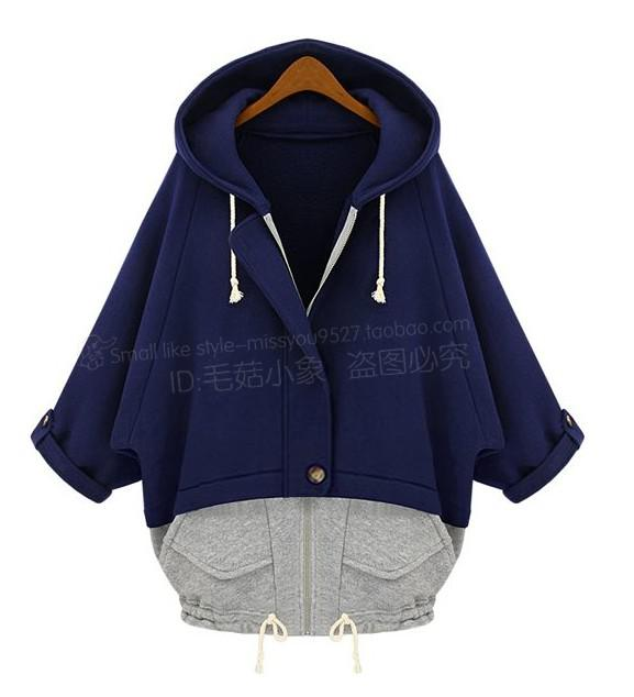 New Women Fashion Hooded Sport Hoodies Ladies Casual Batwing Sleeve Overcoats Girls Zipper Half Sleeve Jersey Surcoats