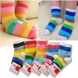 Wholesale Korea Baby Socks - Korea Japan rainbow striped cotton socks cute kids socks Unisex colorful sock 20pcs lot fashion socks baby sock