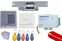 Wholesale Powered Access - Free shipping Access Control kit , Rfid keypad access control, power supply, Electric Strike Lock.exit buon, 10 em key fob