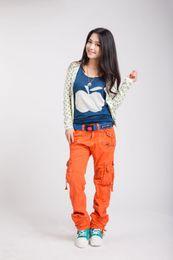 Wholesale Orange Womens Trousers - Women Clothing Fashion Womens Cargo Pants Harem Hip Hop Pants Dance Costume Girls Loose Casual Baggy Trousers 9072