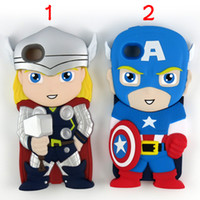 Wholesale Funny Iphone 4s - Cute Silicone Case for iphone 4 4S 5 5S Chara-Covers Avengers Funny 3D Cartoon Captain America Case with Retail Package