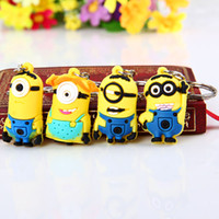 Wholesale Despicable Key Rings - 3D Despicable Me Minion Action Figure Keychain Keyring Key Ring 8PCS Cute Gifts + CARD Package Free Shipping