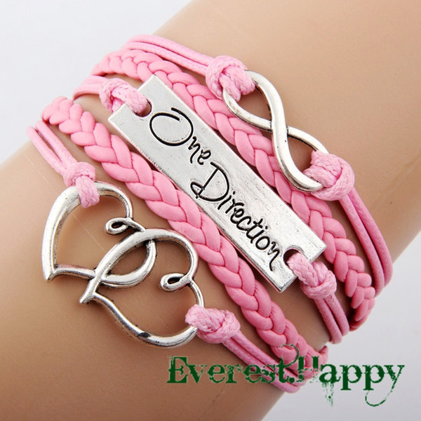 Antique Silver Sideways Charm One direction Heart Infinity Braided Pink Leather Bracelets Wristbands Xmas Gift hy1005