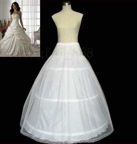 Barato Blanca una línea de vestidos de novia Enaguas 2T 3 aros 1 M 2 capas de enagua del vestido de crinolina AI-7