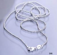 cadena de bolas para el cierre al por mayor-1 unids 925 Sterling Silver Necklace Ball Chain (sin colgante) Solid Women Lady Girl Jewelry Chain con cierre de langosta SH6 Tamaño Elija