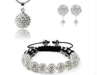 Wholesale Shamballa Bracelet Earring Necklace Set - Wholesale - - SHAMBALLA CRYSTAL NECKLACE PENDANT & STUD EARRINGS BRACELETS SET JEWELLERY SET NEW SILVER DISCO