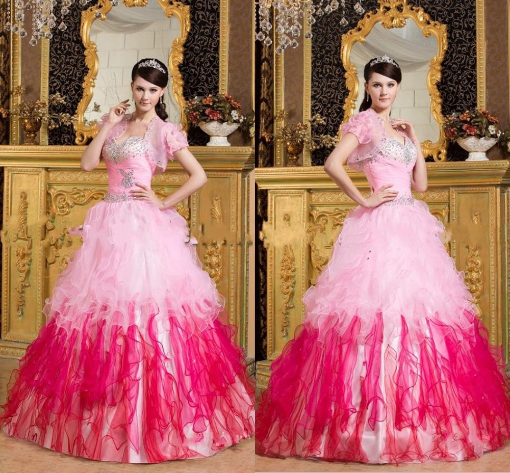 Most Beautiful Ball Gown Wedding Dresses: Most Beautiful Rainbow Sweetheart Organza Ruffled New 2013