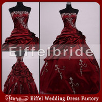 Wholesale Olive Green Taffeta - Ball Gown Prom Dress Embroidery Taffeta Burgundy Quinceanera Dresses Classic Puffy Dark Red Formal Party Gowns High Quality Custom Made