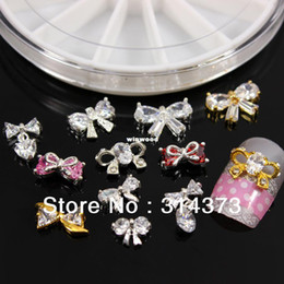 Wholesale Rhinestones Nail Art Bows - Wholesale - 1 Wheel Sparkling Bling Charm Bow Tie Bowknot Styles Zircon Crystal Rhinestones Alloy DIY Design Cellphone Nail Art Decorations