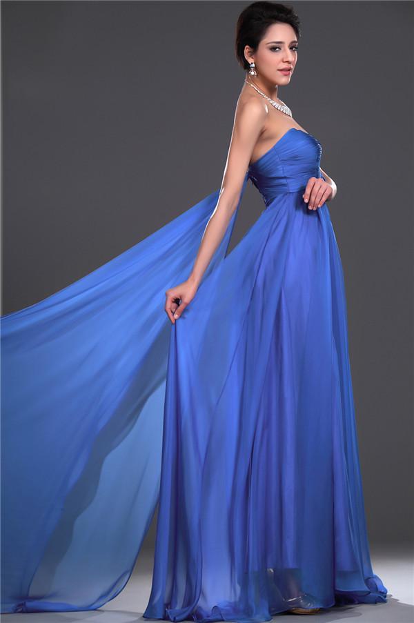 Graceful Custom Made Königsblau Schatz geraffte Empire Abendkleid Abendkleider Partykleider Umstandskleid
