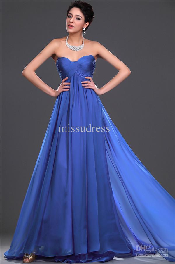 Graceful Custom Made Royal Blue Sweetheart Ruched Empire Avondjurk Formele Jurken Feestjurken Moederschap Jurk