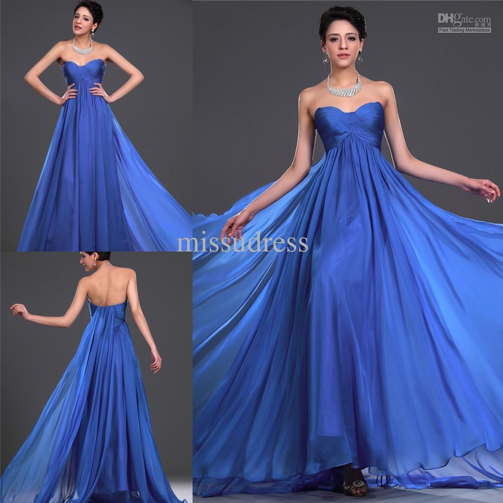 Graceful Custom Made Royal Blue Sweetheart Ruched Empire Evening ...