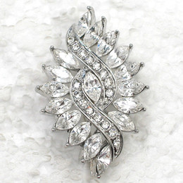 Costume Flower Brooch NZ - Wholesale Marquise Crystal Rhinestone Wedding party prom Flower brooches pins Fashion Costume Pin Brooch & Pendant jewelry gift C597