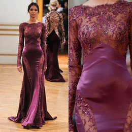 Wholesale see through dresses zuhair murad - 2015 New Sexy Zuhair Murad Evening Dresses Burgundy Bateau Beads Long Sleeve Mermaid Floor Length See Through Lace Pageant Prom Party Gowns