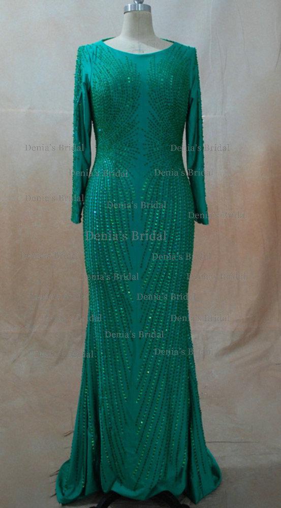 Ispirato al 2013 a Cannes Claudia Galanti Green Mermaid Backless Celebrity Abiti da sera con maniche lunghe Dhyz 01 Acquista 1 e ricevi 1 scialle gratis