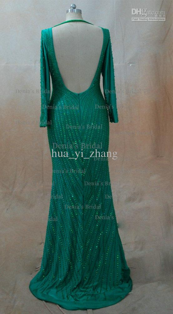 Inspired by 2013 Cannes Claudia Galanti Green Mermaid Backless Celebrity Evening Dresses with Long Sleeves