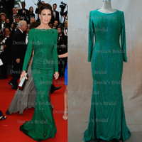 Wholesale Buying Celebrity Dresses - Inspired by 2013 Cannes Claudia Galanti Green Mermaid Backless Celebrity Evening Dresses with Long Sleeves Dhyz 01 (Buy 1 get 1 free Shawl)