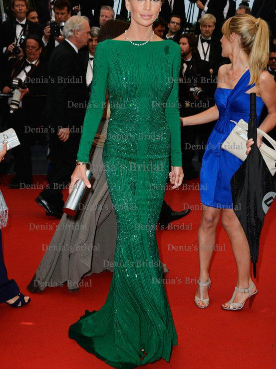 2013 backless green evening dresses with long sleeves