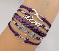 silber infinity anker eule armband großhandel-Unendlichkeits-Liebes-Eulen und Anker-Charme-Armbänder in Freund-Weihnachtsgeschenk 20pcs / lot hy1010 der Silber-9colors