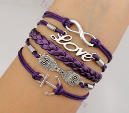Wholesale Infinity Love Owls and Anchor Charm Bracelets in Silver colors Friendship Christmas Gift hy1010