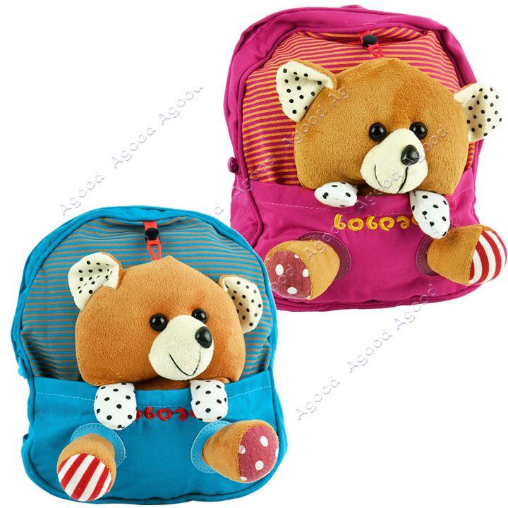 Cute Baby Child Kid Canvas Backpack Little Bear Design Schoolbag ...