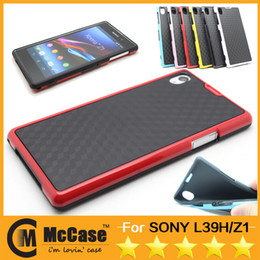Wholesale Veins Case - Best TPU Case For Xperia Z1 , Double Colors Stereo Veins Soft TPU Skin Back Cover Bumper Cases For SONY Xperia Z1 L39H Protector 50PCS DHL