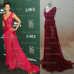Wholesale Floor Photo - 2013 Wine Red Chiffon Lace Celebrity Dresses at Red Carpet (Buy 1 get 1 free Necklace)