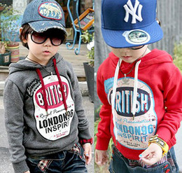 Wholesale Wholesale Fall Clothing - Wholesale - Fall Winter Boy Hoodies&Sweatshirts Child Letter Pattern Clothing Kid Long Sleeved Sweater Child Tops 2-7T Red Gray 4p l