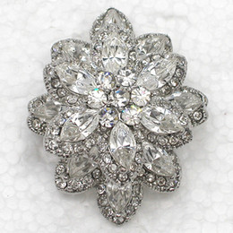 Costume Flower Brooch Canada - 12pcs lot Wholesale Chunky Clear Crystal Rhinestone Bridesmaid Wedding Party Brooches Flowers Costume Pin Brooch & Pendant C491