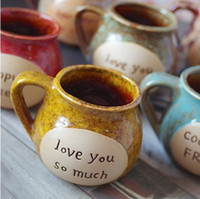 Wholesale Spoon Cafe - Dia 10*8.5cm Classic Retro Ceramic Tatu Coffee Mug Cafe Milk Tea Cup with Wooden Cap and Spoon Party Decoration SH150
