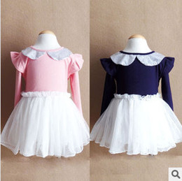 Wholesale Doll Collar Dress Sleeve - Autumn Korean Children Dress Baby Girls New Doll Collar Sequins Tulle Tutu Princess Dress Kids Fashion Ruffle Sleeve Party Dress 868