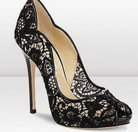 Special Offer Wholesales Black Lace Screen Wavy Peep- toe Pum...