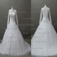 Wholesale Wedding Veil Tier Beaded - 2014 A Line High Neck Sheer Long Sleeve Beaded Keyhole Back Corset Chapel Train Lace Tulle Wedding Dresses Dhyz 01 (buy 1 get 1 free Veil)