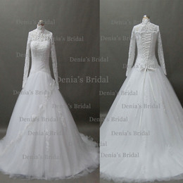 Wholesale Ivory Beaded Lace Chapel Veil - 2014 A Line High Neck Sheer Long Sleeve Beaded Keyhole Back Corset Chapel Train Lace Tulle Wedding Dresses Dhyz 01 (buy 1 get 1 free Veil)