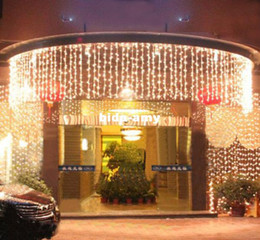 Wholesale Party Fair White Lights - 6M x 1M 300 LED Outdoor Black Curtain Light Party Christmas tree Decoration String Fair Wedding  Hotel Festival Free Shipping