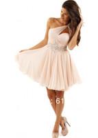 Wholesale Short Chiffon One Shoulder - 2015 new Wholesale - Cheap One Shoulder Chiffon Short Prom Dress A-Line Beaded Above Knee Custom Made