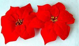 Canada NOUVELLES arrivées 40Pcs ROUGE Couleur Fleurs Artificielles Simulation Poinsettia Tête de Fleur De Noël Fleur Festival Fête Décoration Livraison Gratuite supplier poinsettia christmas flower Offre