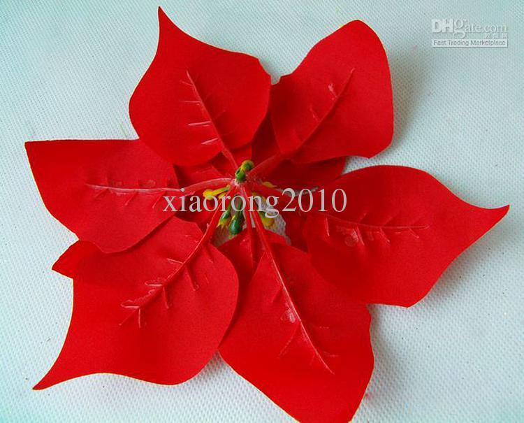 Nyanlända 40st Red Färg Konstgjorda blommor Simulering Poinsettia Blomma Head Christmas Flower Festival Party Decoration Gratis frakt