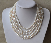 Wholesale Long Necklace Freshwater Pearls - Long Pearl Necklace,100 Inches AA 6-12MM White Color Natural Freshwater Pearl Necklace,Baroque Pearl Necklace,Free Shipping.Wholesale.