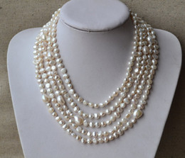 Wholesale Baroque Freshwater Pearl Necklace White - Long Pearl Necklace,100 Inches AA 6-12MM White Color Natural Freshwater Pearl Necklace,Baroque Pearl Necklace,Free Shipping.Wholesale.