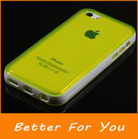 Wholesale Iphone 5c Color Cases - High Quality Mix Color Hybrid Combo Soft PC + TPU Transparent Clear Back Case Cover Pouch For iPhone 5C, 10pieces lot
