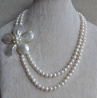 Wholesale necklace rows white pearl - Pearl Jewelry Pearl Necklace, 2 Rows AA 7-8MM White Pearl Necklace , Shell Flower Necklace , Golden Colour Clasp Necklace.Wedding Jewelry.