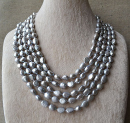 Wholesale Long Baroque Freshwater Pearl Necklace - Long Grey Pearl Necklace, 100 Inches 7x10mm Natural Freshwater Pearl Necklace ,Baroque Pearl Necklace.Wholesale.New Free Shipping.