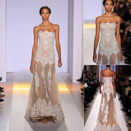 Wholesale Zuhair Murad See Through Dress - New Summer Zuhair Murad Evening Dresses White Strapless Embroidery A Line Long See Through Transparent Lace Pageant Prom Party Gowns