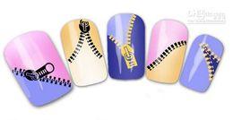 $enCountryForm.capitalKeyWord Canada - Fashion Metallic Nail Wrap Water Transfer Nail Art Sticker Zipper Design Zip Decal