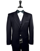 Wholesale Boys Navy Suit Jacket - Custom made 2014 NEW Groom Tuxedos Wedding Groomsman Suit Groomsman Bridegroom Suits (Jacket+Pants+Tie+Vest) Boy Suit 3854